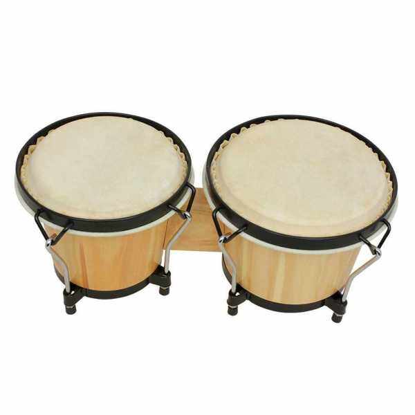 Bongo Drums Wooden Percussion Instrument Drum Set Including 5.5 Inch & 6 Inch Drums Natural Finish Children Toy with Tuning Wrench (Standard) Malaysia