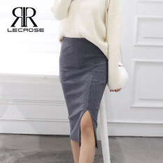 LecRose chân váy nữ Sheath Skirt đồ bộ nữ Autumn And Winter Skirts Rib Stretchy Long Skirt Sexy Chic Pencil Skirts High Waist Split Skirt Hip Skirt for Women Plus Size