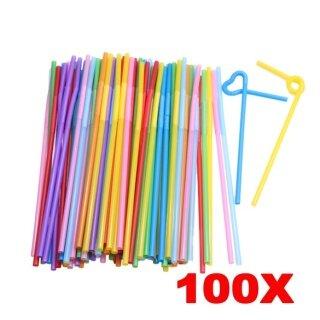 100 Chiếc Dây Đeo Bằng Nhựa Dẻo Uốn Cong Nhiều Màu Dùng Một Lần Cho Bữa Tiệc thumbnail