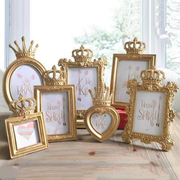 Fityle 4Pcs Family Wedding Gold Baroque Luxury Crown Resin Picture Photo Frame
