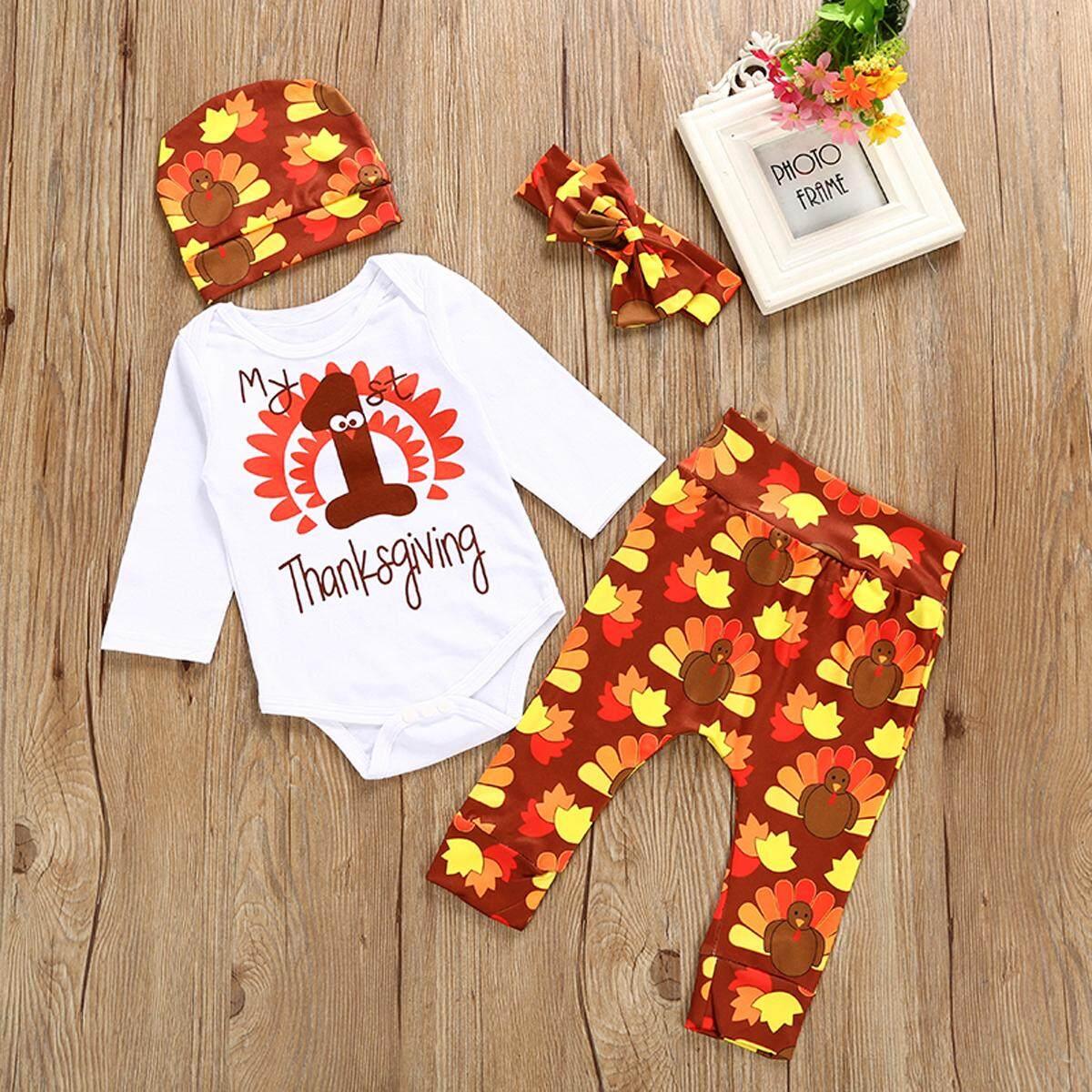 a0f702bad443 2019 4PCS set Infant Baby Thanksgiving Day Turkey Romper+Pants+Hat+Headband