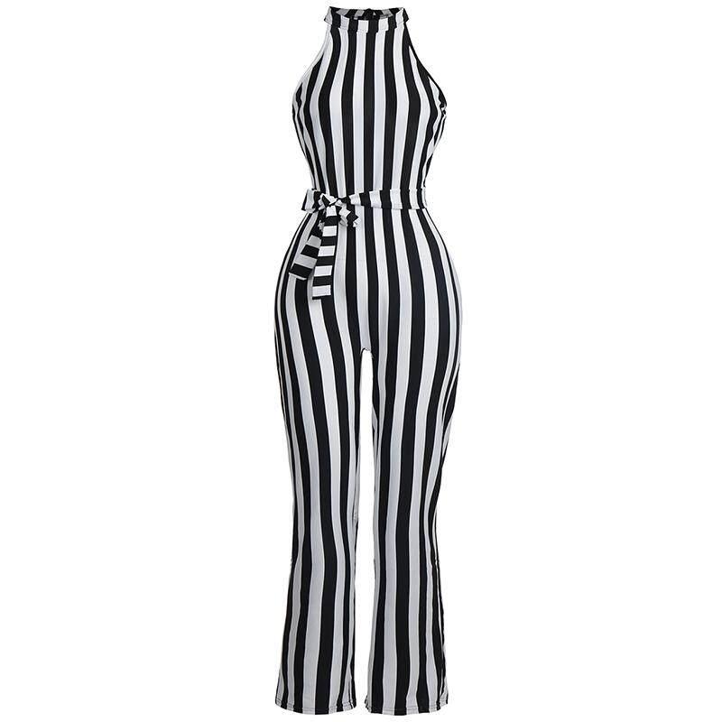 0fcd4cb52b4 Spring Summer Jumpsuit High Waist Wide Leg Stripe Romper Sleeveless Halter  Lace Up Long Jumpsuits Pants