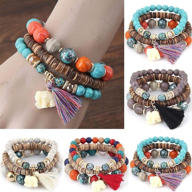 Vòng tay nữ gồm 3 dây kết hạt gỗ quyến rũ, phong cách Boho, giá tốt - INTL