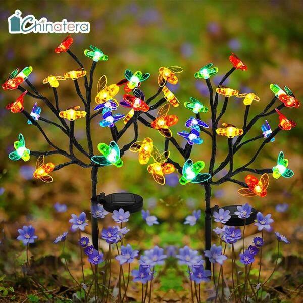 [Chinatera] 2 Chiếc Đèn Sân Cỏ Hình Ong Mật Mô Phỏng Năng Lượng Mặt Trời 20 LED, Đèn Vòng Hoa Cổ Tích Nhiều Màu Sắc Đèn Cảnh Quan Sân Vườn Ngoài Trời Không Thấm Nước