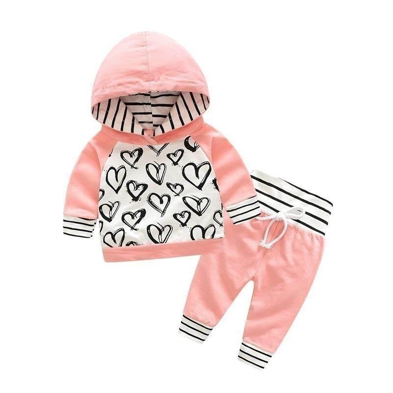 Mới Thu Đông Cotton Dễ Thương Trẻ Sơ Sinh Sơ Sinh Quần Áo Bé Gái Trái Tim In Hoodie + Sọc Hồng tay và Quần bộ trang phục