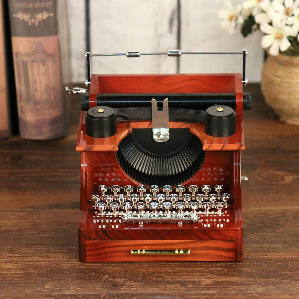 Potential house Classic Typewriter Model Music Box Wood Metal Antique Musical Boxes Toys