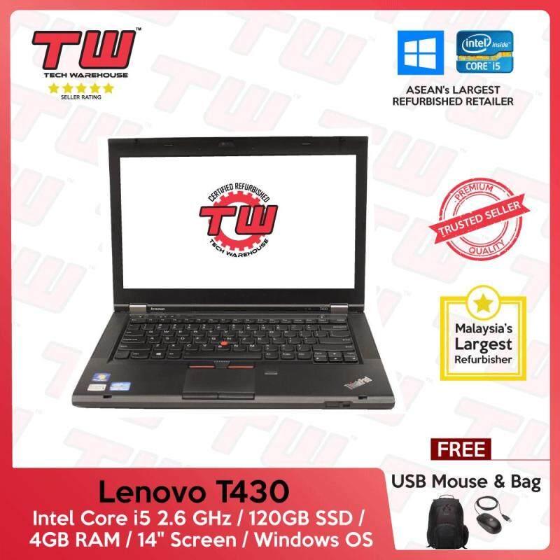 Lenovo T430 Core i5 2.6 GHz / 4GB RAM / 120GB SSD / Windows OS Laptop / 3 Months Warranty (Factory Refurbished) Malaysia