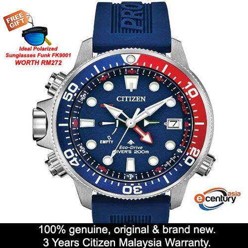 (Free Gift) citizen_citizen_ Bn2038-01L Mens Promaster Marine Eco-Drive Divers 200M 30Th Anniversary Blue Rubber Strap Watch Malaysia
