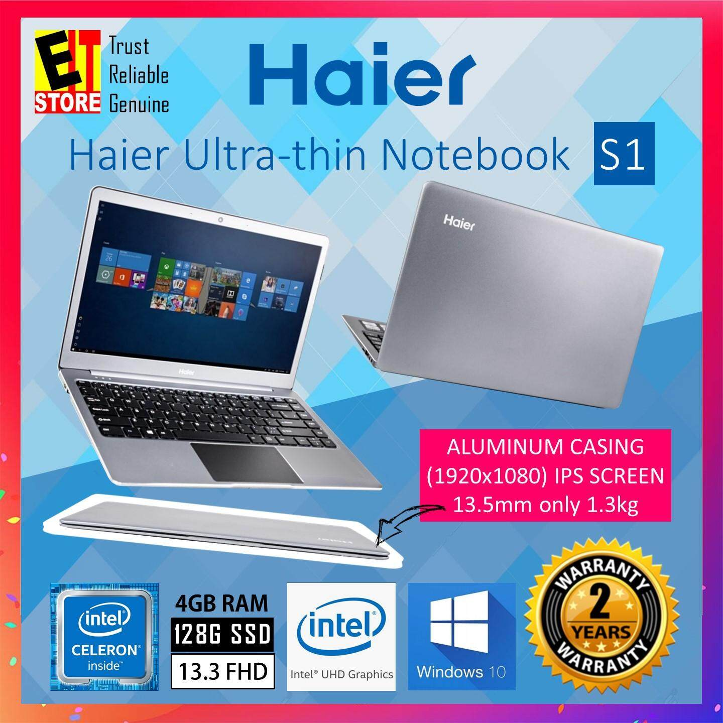 HAIER S1 ULTRA-THIN NOTEBOOK (GEMINI LAKE N4000/4GB/128GB SSD/13.3 FHD IPS/INTEL UHD/W10/2YRS) Malaysia