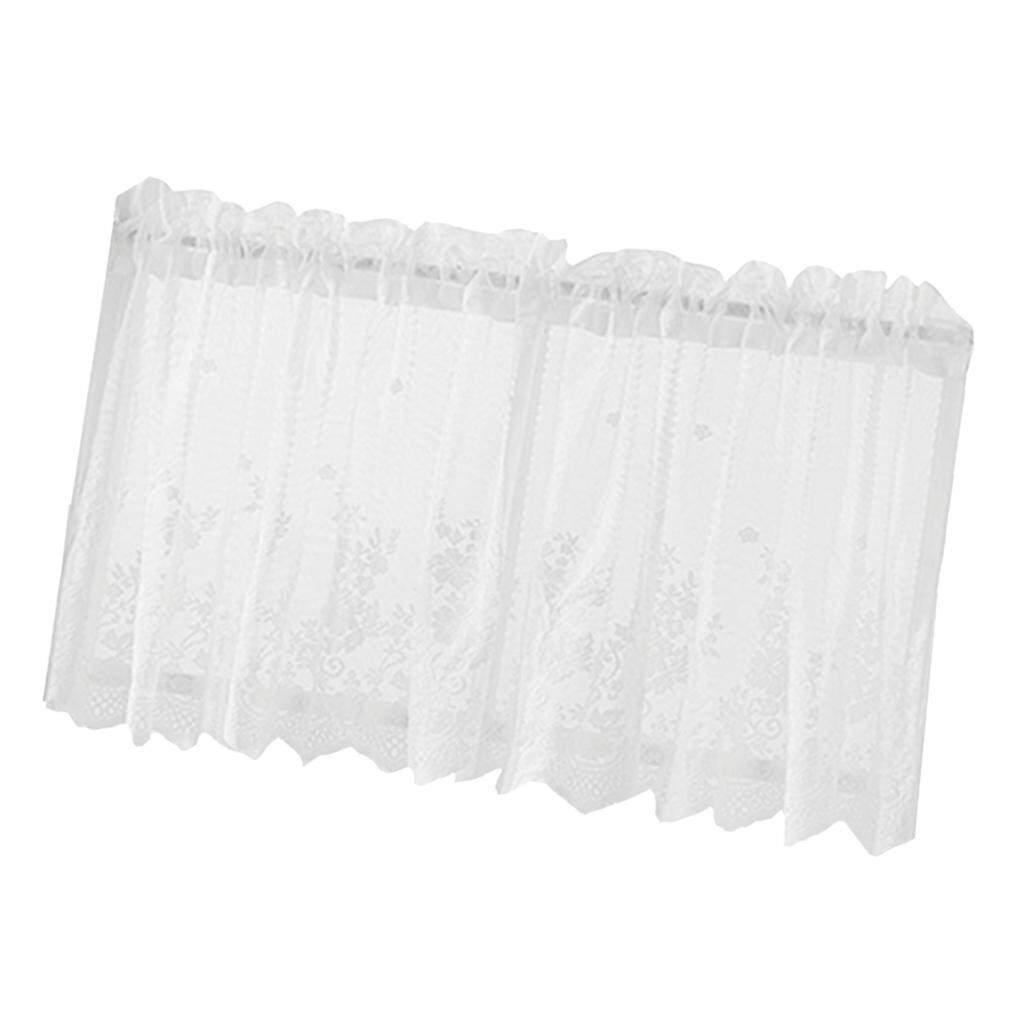 BolehDeals 2 Panel Embroidered Lace Home Window Voile Sheer Valance Cafe Tiers Curtains