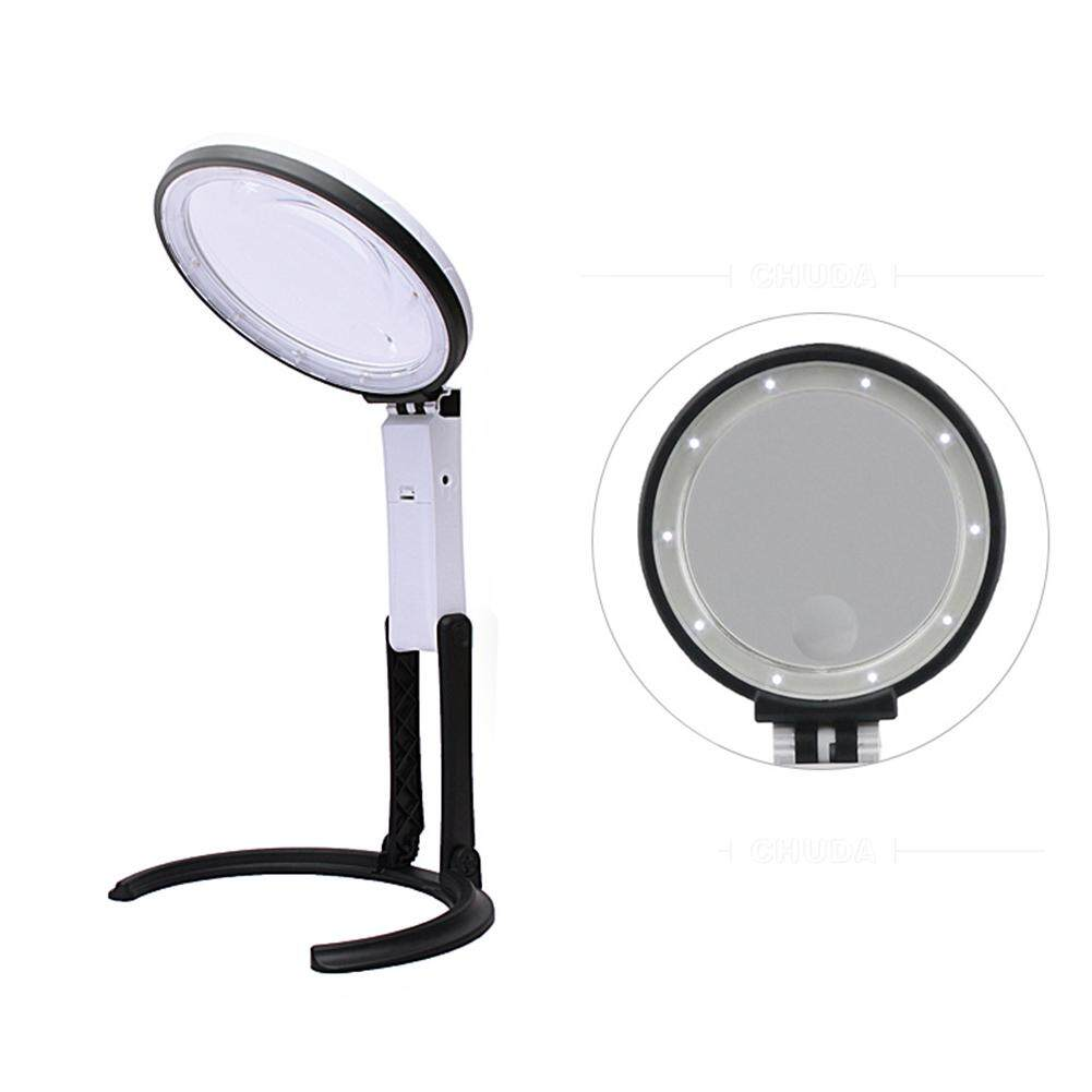 12 LED 1.8X 5X Working Tool Dual Purpose Handheld Brightness Foldable Durable Magnifying Glass Table Lamp Magnifier Lamp