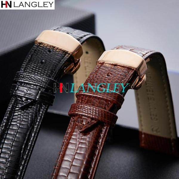 LANGLEY Watch Band High Quality Genuine Leather WatchBand Cowhide Handmade Watch Strap Mens Business Watch Bracelet  16/18/20/22mm Malaysia