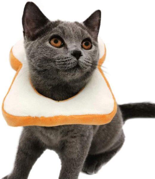 Bánh Mì Bánh Mì Mềm Slice Elizabeth Pet Phục Hồi Cone Cho Mèo Chó Nhỏ, Dễ Thương Bánh Mì-Hình Cổ Áo, Bảo Vệ Cổ Hình Nón, Trang Phục Hoạt Hình Cho Pet Show Cosplay, Bánh Mì Nướng Mèo Mũ Mũ