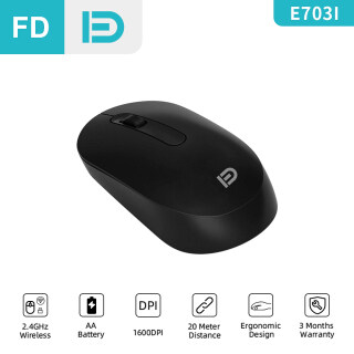 [NEW] FD E703i Black Wireless Mouse, 2.4G USB, 1600DPI, Office Mouse Basic Mice, For Computer PC Laptop, for Lenovo Huawei Notebook thumbnail