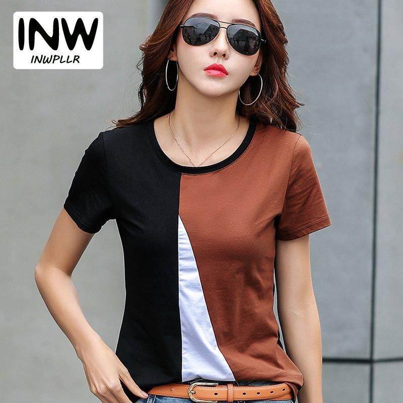 147d9f340c0 INWPLLR Women s Short Sleeve Patchwork Tshirt Summer Women Korean Tee Shirt  T-shirt Big Size