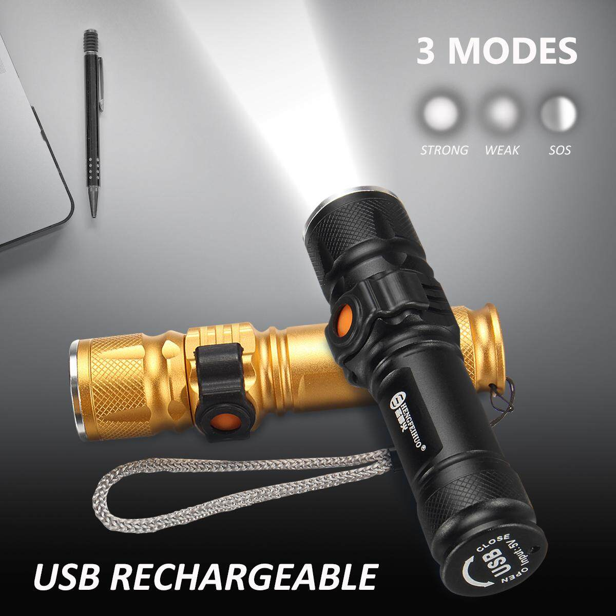 【Free Shipping + Flash Deal】Rechargeable 3 Modes Tactical 12000LM Zoomable T6 LED Flashlight USB Torch Light