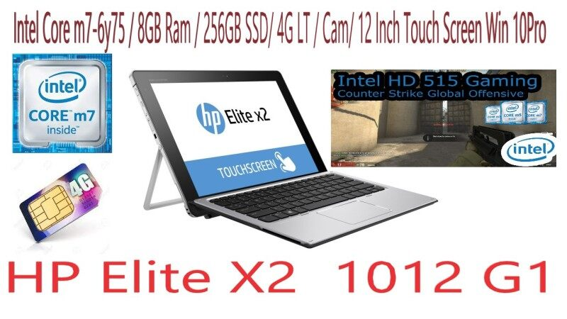 (Refurbished) HP Elite X2 1012 G1 ( Intel Core m7-6y75 / 8GB Ram/256GB SSD/ 4G LT / 12 Inch Touch Screen/ Cam / Win 10Pro Malaysia
