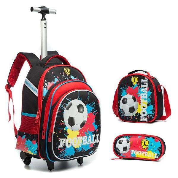 [Hely TOP] 3-piece Primary School Kids Boys Cartoon Football Printed Trolley Backpack High Capacity Hard Shell Schoolbag Travelling Bag with Reflective Stripes