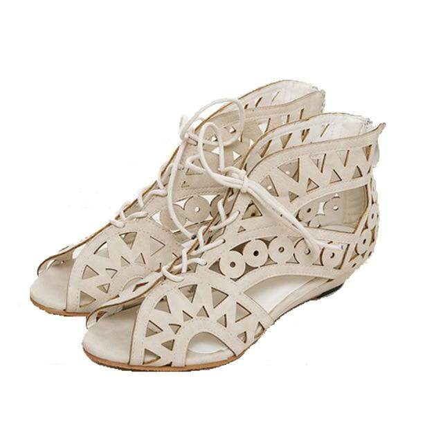 c2621d9ff70 Hollow Out Women Gladiator Sandals Vintage Lace Up Low Heel Wedges Summer  Shoes For Woman Open