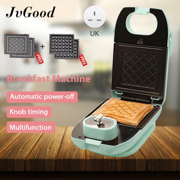JvGood Mini Sandwich Maker Waffle Maker Electric Griller Toaster Grilling Panini Baking Plates Toaster Breakfast Machine with 2 Sandwich Plates & 2 Waffle Plates for Home House