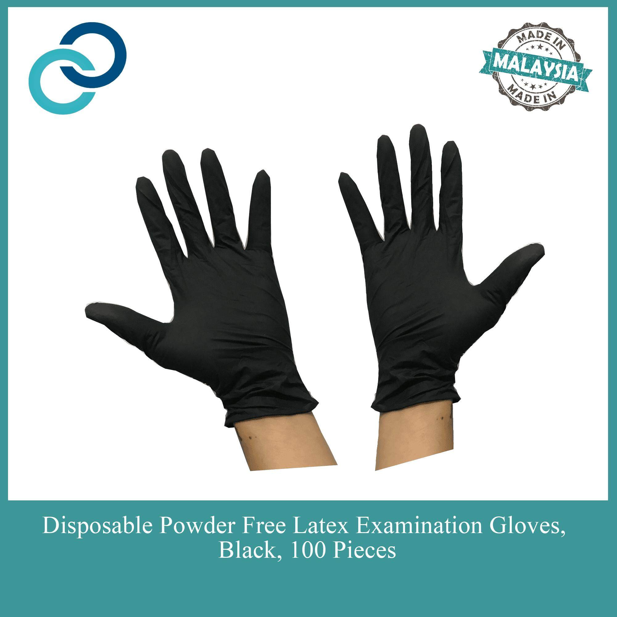 [CLEAR STOCK] Disposable Powder Free Latex Glove Black Size L 100 Pieces