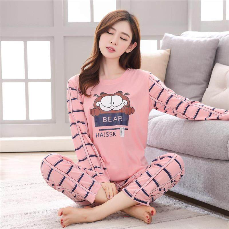Women Lovely Round Collar Long Sleeved Tops Long Trousers Cartoon Pajamas e3cdbf46e