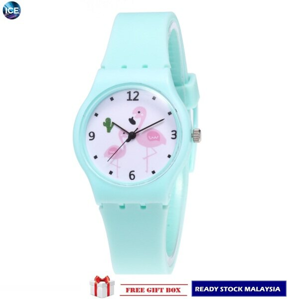 Ready Stock Cute Small Fresh Soft Sister Girls Candy Color Students Flamingo Analog Watch + Watch Box Best Gift Jam Tangan Malaysia