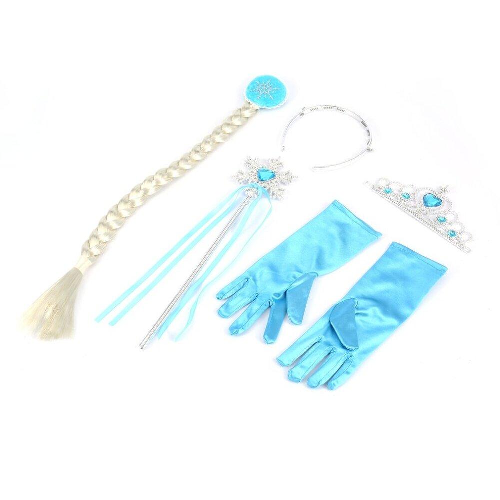 Girls Frozen Queen Elsa Anna Princess Crown Magic Wand Gloves Hair Piece Cosplay