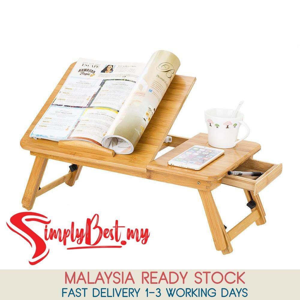 Simplybest Portable Eco Friendly Foldable Bamboo Bed Laptop Desk Adjule Lap Notebook Table Stand Tray With