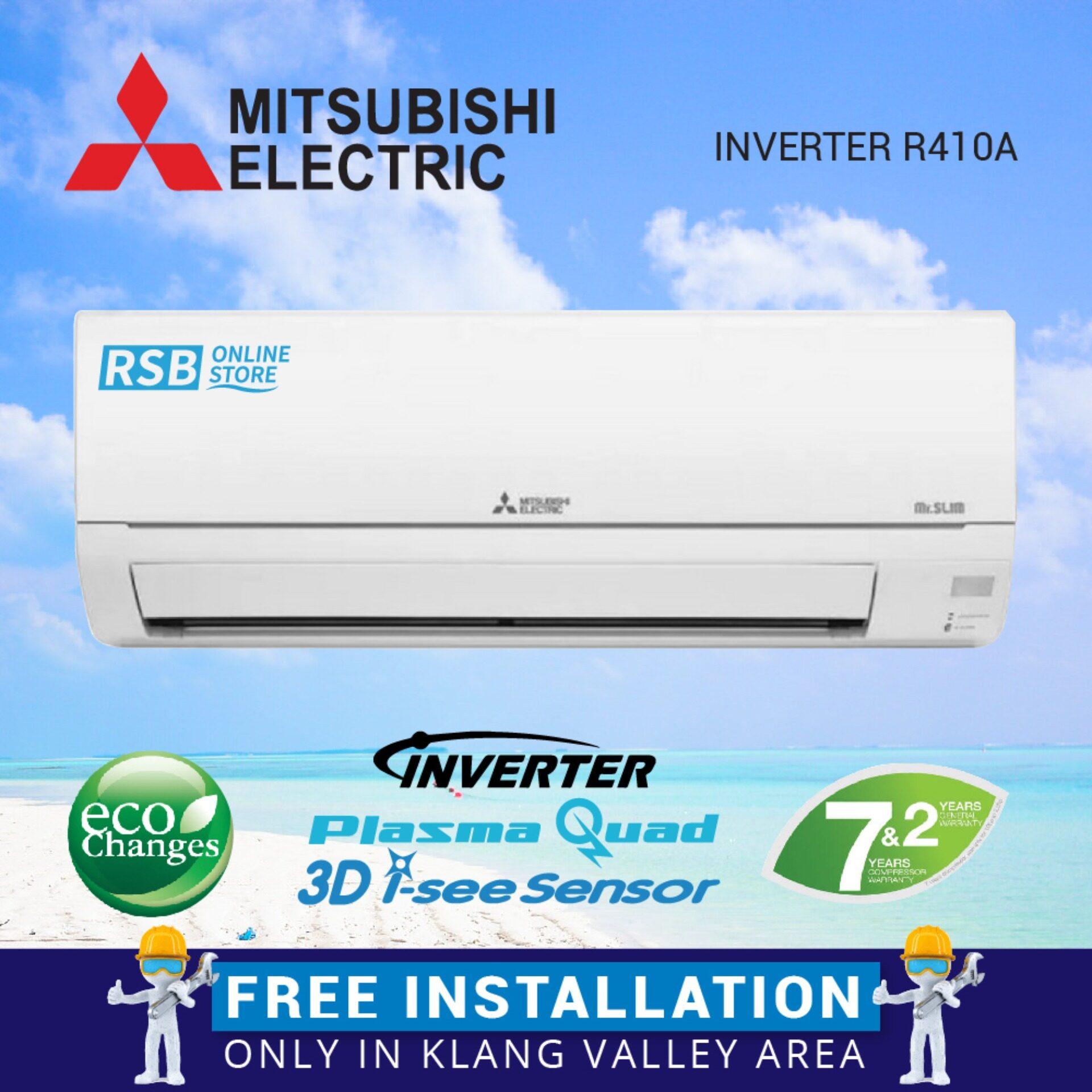 Free Installation Mitsubshi Air Conditioner Inverter R410A 1.0HP MSY-GJ10VA_FI + Eco Changes + Inverter + Plasma Quad 3D I-see Sensor + Mr.Slim