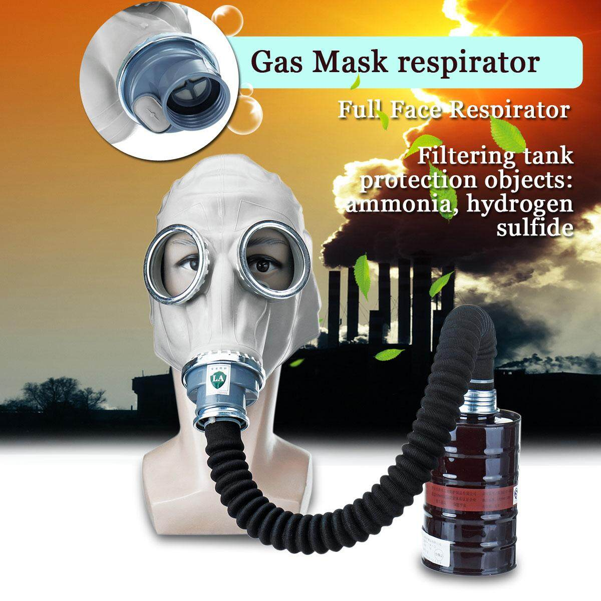 3 in 1 Full Face Respirator Painting Spraying Face Dust Gas Mask with Filter Tank Tube