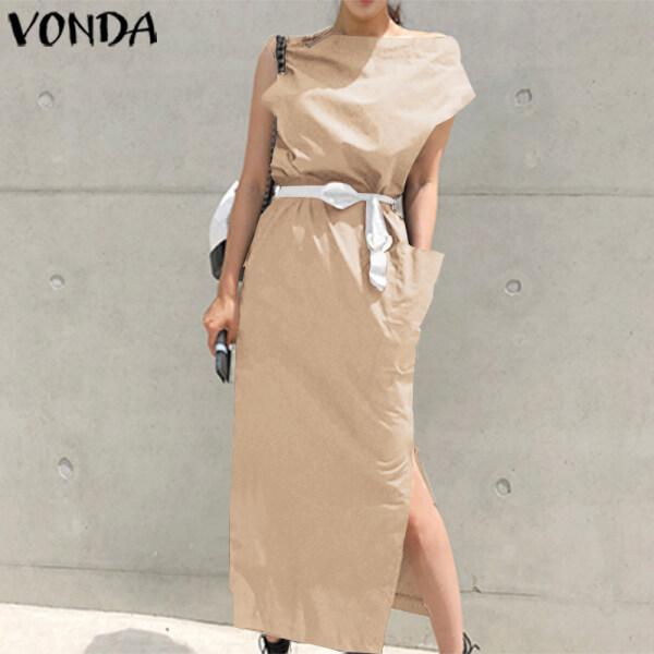 VONDA Đầm Công Sở Thường Ngày Tay Ngắn Cho Nữ Đầm Dài Kaftan Bất Đối Xứng Váy Đi Biển