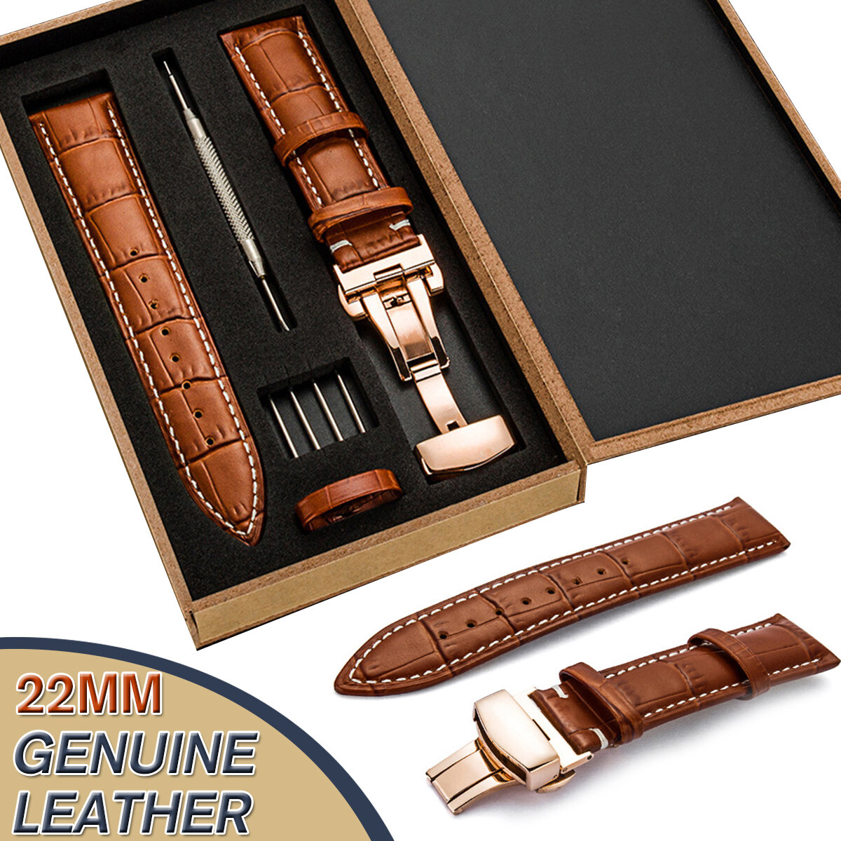 22MM Genuine Leather Watch Band Strap Kit Butterfly Buckle Deployment Clasp Gift for Men and Women Malaysia