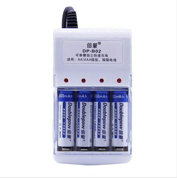 Doublepow USB Battery Charger + 4 AA Ni-MH 1200mAh Rechargeable Battery
