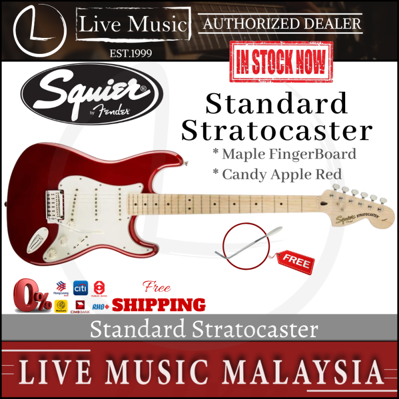 Fender Squier Standard Stratocaster 6-String Electric Guitar, Maple Fingerboard - Candy Apple Red Malaysia