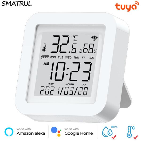 SMATRUL Tuya Wifi Smart Temperature And Humidity Sensor Indoor Hygrometer Electronic LCD Display Support Alexa Google Home