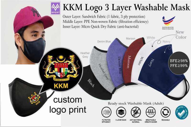 KKM Logo 3 Layer Washable Mask BFE>98%