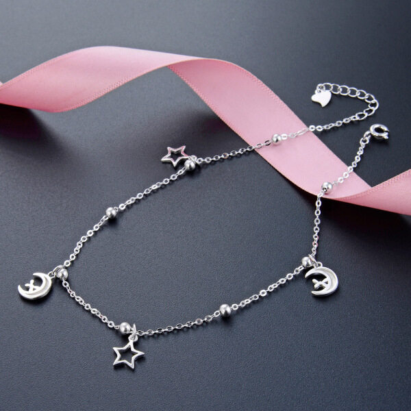 Thời trang phổ biến vòng chân bạc 925 Sterling dành cho phụ nữ và sinh viên mới bên bờ biển vòng chân collocation váy quần trang sức STARRY SKY Moon chỉnh trang quà tặng cho bạn bè đơn giản