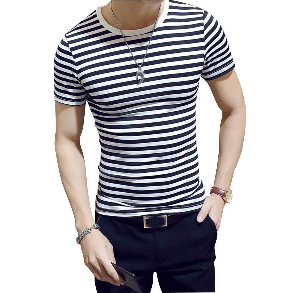 324f0b73214 SZWL Men Fashion Top Round Collar Stripe Printing Short Sleeve T- Shirt