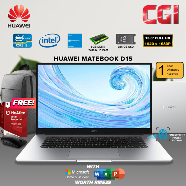 Huawei 15.6 Matebook D15 Intel i3-10110U Processor Intel UHD Graphics Win10Home 8GB RAM 256GB SSD Office Home Student 2019- Mystic Silver Malaysia