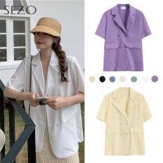 Áo Blazer Nữ Ngắn Tay, Dáng Rộng, Mỏng, Phong Cách Cổ Điển Hàn Quốc, Màu Trơn