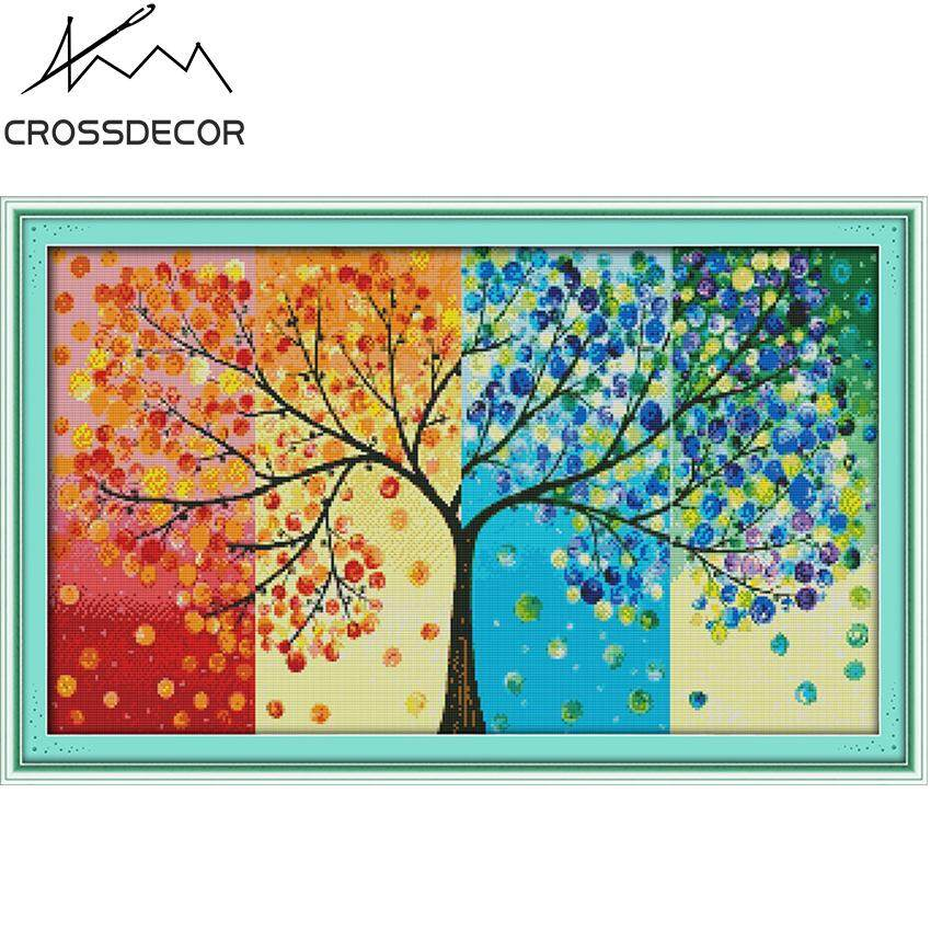 CrossDecor New Arrival Precise Stamped Cross-Stitch Complete Set Big Size Four Seasons Money Tree DIY Handmade Embroidery Needlework 11CT Pre-Printed On the Cloth Home Room Decor DMC Complete Kits
