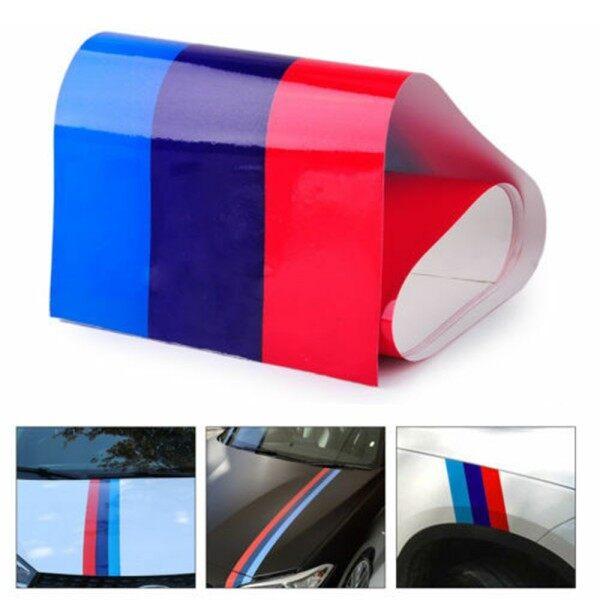 Đề Can Nhãn Dán Sọc Cờ Điện Màu M, Tấm Chắn Bùn Mui Xe Ô Tô PVC, 2M Cho BMW