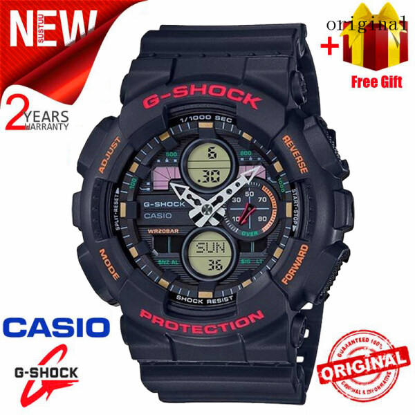 2021 Original Casio G Shock GA140 Men Sport Watch Dual Time Display 200M Water Resistant Shockproof and Waterproof World Time LED Auto Light Sports Wrist Watches with 2 Year Warranty GA-140-1A4DR (Free Shipping) Malaysia