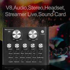 V8 Âm Thanh Nổi Âm Thanh Mic-rô Tai Nghe Webcast Streamer Sống Card Âm Thanh (Màu Đen)
