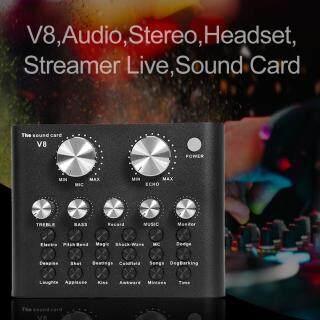 [Chinatera] Tai Nghe Âm Thanh Nổi V8 Micrô Webcast Streamer Thẻ Âm Thanh Trực Tiếp (Màu Đen) thumbnail