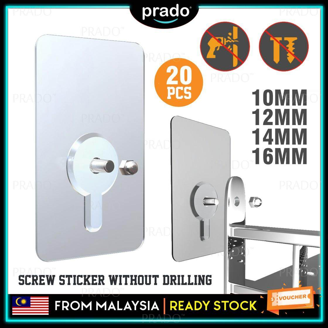 PRADO Malaysia 20pcs Heavy Duty No Drill Screw Stick-On Punch Nail Screw Super Sticky Strong Home Living Kitchen Adhesive Magic Wall Hook Hanger