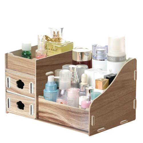 215b Wooden Makeup Cosmetic Organizer Desktop Storage Box Rack 2 Drawers By Blisshome Online Shop.