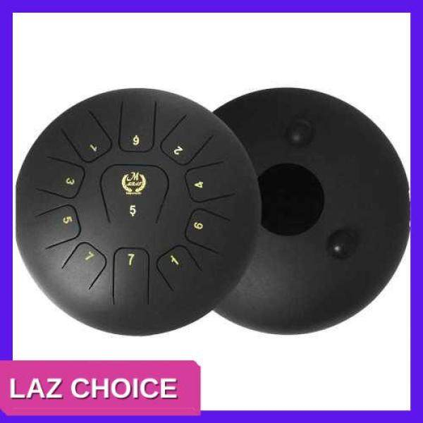 LAZ CHOICE 12 Inch Steel Tongue Drum 11-Tone Hand Pan Drum Stainless Steel Percussion Instrument with Drum Mallets Carry Bags Note Sticks (Black) Malaysia