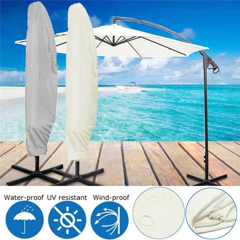 【Free Shipping】1 PCS Cream-White Outdoor Banana Umbrella Garden Patio Cantilever Parasol Waterproof Cover